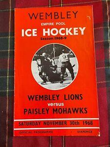 Wembley Empire Pool - Wembley Lions - Ice Hockey Programme 30/11/1968