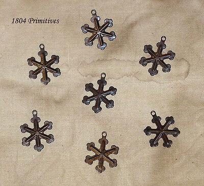 "36 ~ Primitive Rusty Tin 3/4"" Mini Snowflakes ~ Crafts"