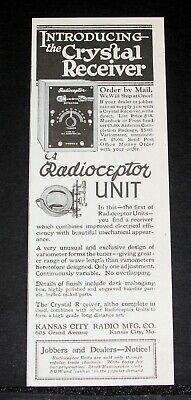 Kansas City Radio Radioceptor Crystal Receiver Set Cheap Price 1922 Old Magazine Print Ad Fragrant Aroma