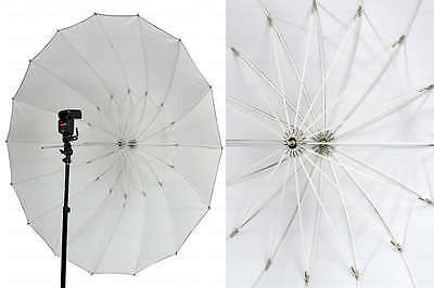 "Pro 72"" white translucent Parabolic Umbrella 16 Fiberglass Rib 7mm Shaft case"
