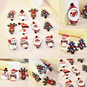 1x Christmas Elk Candy Snowman Hair Clips Hairpin Hair Bows Kids Girl Xmas Gift