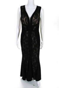 LM Collection Womens Fitted Lace Evening Gown Black Nude