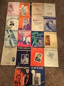 Piano-Sheet-Music-Early-To-Mid-Century-Vintage-Antique-Lot-Of-18-works-oe