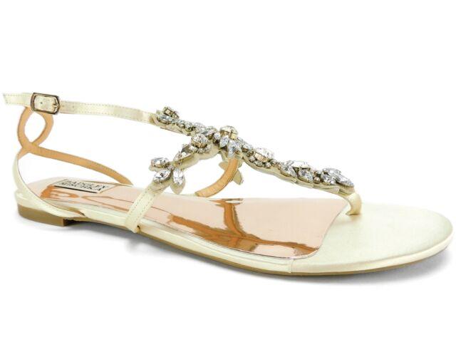 4eee548d4 Badgley Mischka Women's Cara Evening Flat Sandals Ivory Satin Size ...
