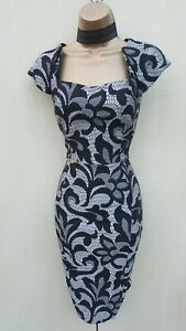 Size 14 Uk Karen Millen Silver Black Floral Jacquard Lace