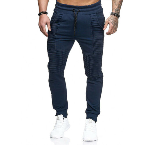Mens Slim Fit Tracksuit Bottoms Gym Sports Skinny Jogging Sweat Pants Trousers