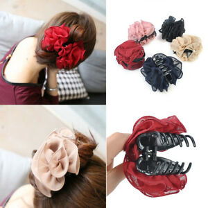 Big-Chiffon-Rose-Flower-Bow-Jaw-Clip-Barrette-Hair-Claw-Hair-Accessories