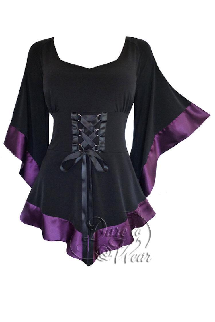 Dare To Wear Victorian Gothic Boho Woherren Treasure Corset Top schwarz, Plum 2X