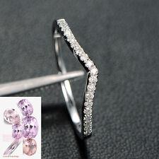 Curved 14k White Gold Diamond Wedding Band Matching Engagement Bridal Ring 6#