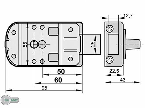 Kastenschloss 50 60 Außenzylinder Gleichschliessend Türzusatzschloss Weiss