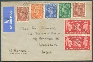 La-Grande-Bretagne-a-l-039-Inde-air-mail-Cover-1951-VF