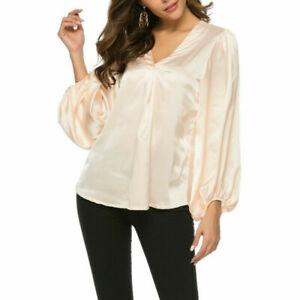 Damen Satin Hemd Bluse Top Lang Puffärmel V-Ausschnitt Formelle Glänzend Lässig