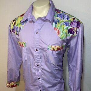 Vtg-Western-Shirt-Cowboy-Pearl-Snap-Woodstock-Hippie-Disco-60s-70s-MENS-2XL-XXL