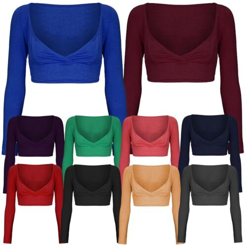 New Ladies Bralet Cross Over Cropped Vest Tops Mini Wrap Tops 8-14