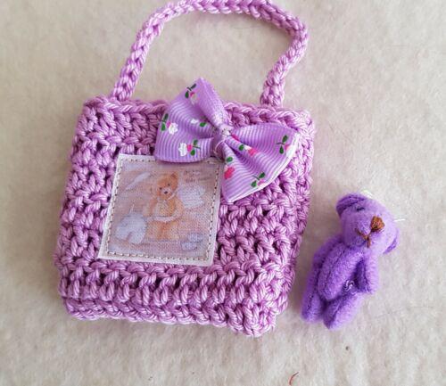 Kleines Häkeltäschchen mit kleinem Teddy, für 20-30 cm Bären oder Puppen