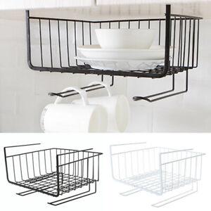 1-X-Under-Shelf-Table-Storage-Basket-Rack-Kitchen-Wire-Mesh-Cabinet-Organiser
