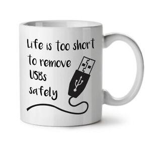 Life-Too-Short-USB-NEW-White-Tea-Coffee-Mug-11-oz-Wellcoda