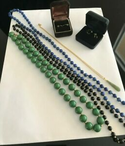 Vintage Lot Green Jade, Onyx, other Necklaces, Earrings Beautiful