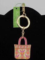 Vera Bradley Lilli Bell Print Tote Around Enamel Key Keychain 12700 142