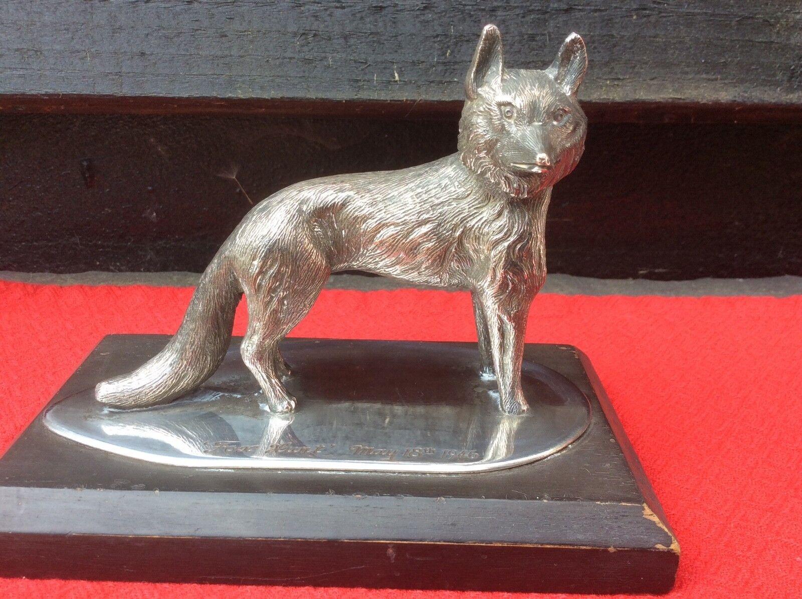 Antiguos plateado Fox Trofeo de Caza Tirojoeo Pesca. caza.