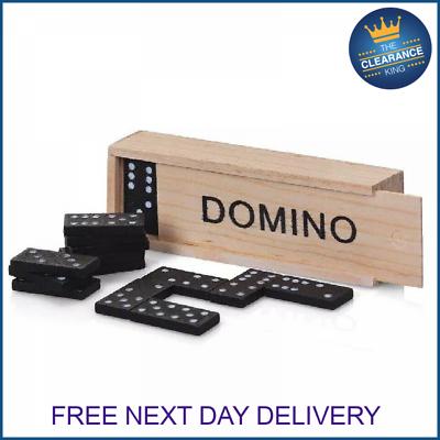 KIDS WOODEN BOX DOMINOES SET TOY TRADITIONAL CLASSIC CHILDREN 28 DOMINO KIDS FUN
