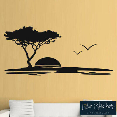 Panoramic Colorful Palm Tree Sunset Wall Decal Fabric Vinyl Wall Sticker Ocean
