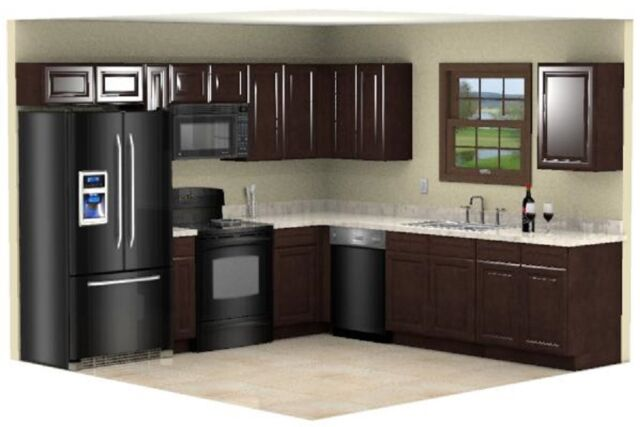 Cheap Kitchen Remodel Espresso Cabinets 10x10 Design Rta All Wood Raised Panel For Sale Online Ebay