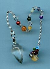 7 Chakra Clear Quartz Pendulum #1  Comes with pouch!