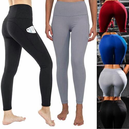 Women High Waist Yoga Leggings Pocket Fitness Sports Running Gym Pants Trousers