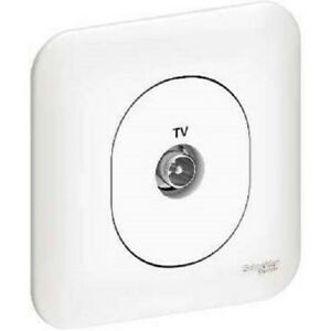 Prise TV simple avec plaque Schneider Ovalis blanc S260405