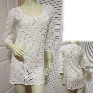 b4f236c3cf JORDAN TAYLOR White See Through Eyelet Beach Swimsuit Cover Up Dress ...