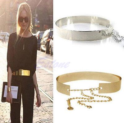 Fashion Wide Plate Full Metal Band Mirror Waistband Women Gold Waist Chains Belt