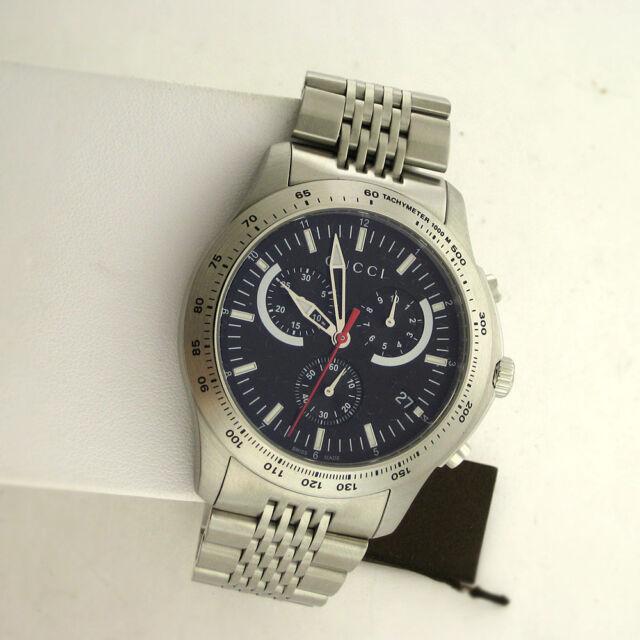 1b90b6ad343 Gucci Swiss YA126254 G Timeless Chronograph Stainless Steel Link Quartz  Watch