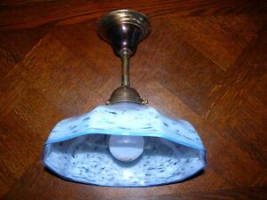 Art Deco Jugendstil  Lampe Deckenlampe Pat de Verre um 1920 Messing ,Glasschirm