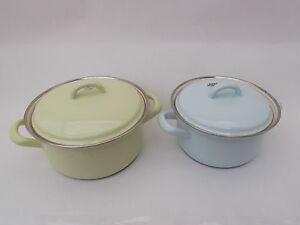 riess email topf kochtopf kasserolle mit deckel t rkis oder gelb neu emaille ebay. Black Bedroom Furniture Sets. Home Design Ideas
