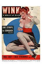 Pin Up Girl Poster 11x17 Wink Magazine art Nylons Stockings Perfume Redhead