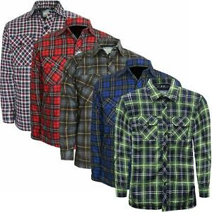 Mens-Padded-Quilted-Fleece-Lined-Flannel-Lumberjack-Shirt-Big-2XL-3XL-4XL-5XL