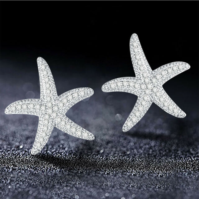 Unique Fashionable Silver Starfish Shape Stud Earrings Women Delicate Gift