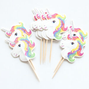 12-x-Unicorn-Cake-Picks-Cupcake-Toppers-Flags-Happy-Birthday