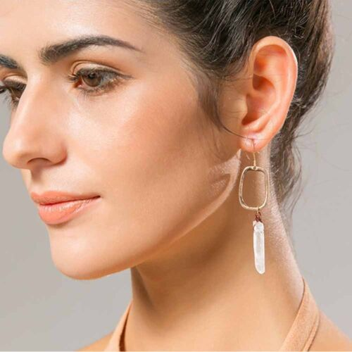 Women Natural Stone Vintage antique geometric shape earrings jewelry gifts