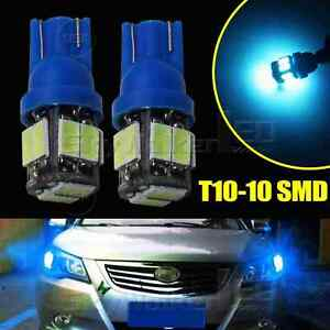 2pcs ICE Blue T10 10SMD Wedge Interior Map Door LED Light Bulbs W5W 168 194