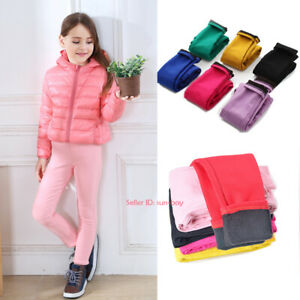 Kids-Girls-Casual-Warm-Leggings-Fleece-Lined-Pencil-Pant-Stretch-Thermal-Trouser