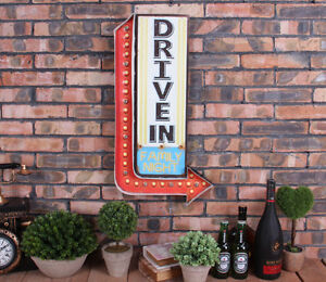 Vintage LED Light Metal Signs DRIVE IN Retro Plate Cafe Pub Motel Art Wall Decor
