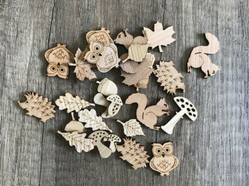 Herbst Mix 50 Streudeko Holz Tischdeko Deko Bastel Zubehör Blatt Pilz Igel Eule