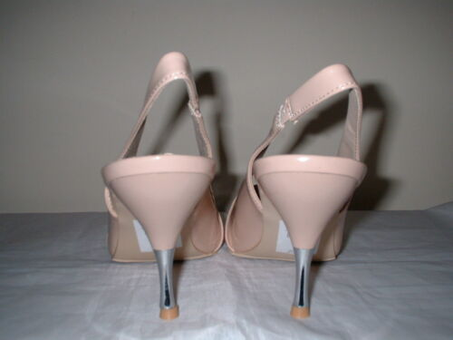 NUDE PATENT POINT SLINGBACK METAL STILETTO HEEL COURT SHOES SIZE 7//40