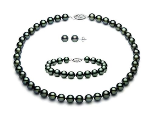 8mm//10mm black shell pearl fashion bracelet earring necklace jewelry set 18/'/'