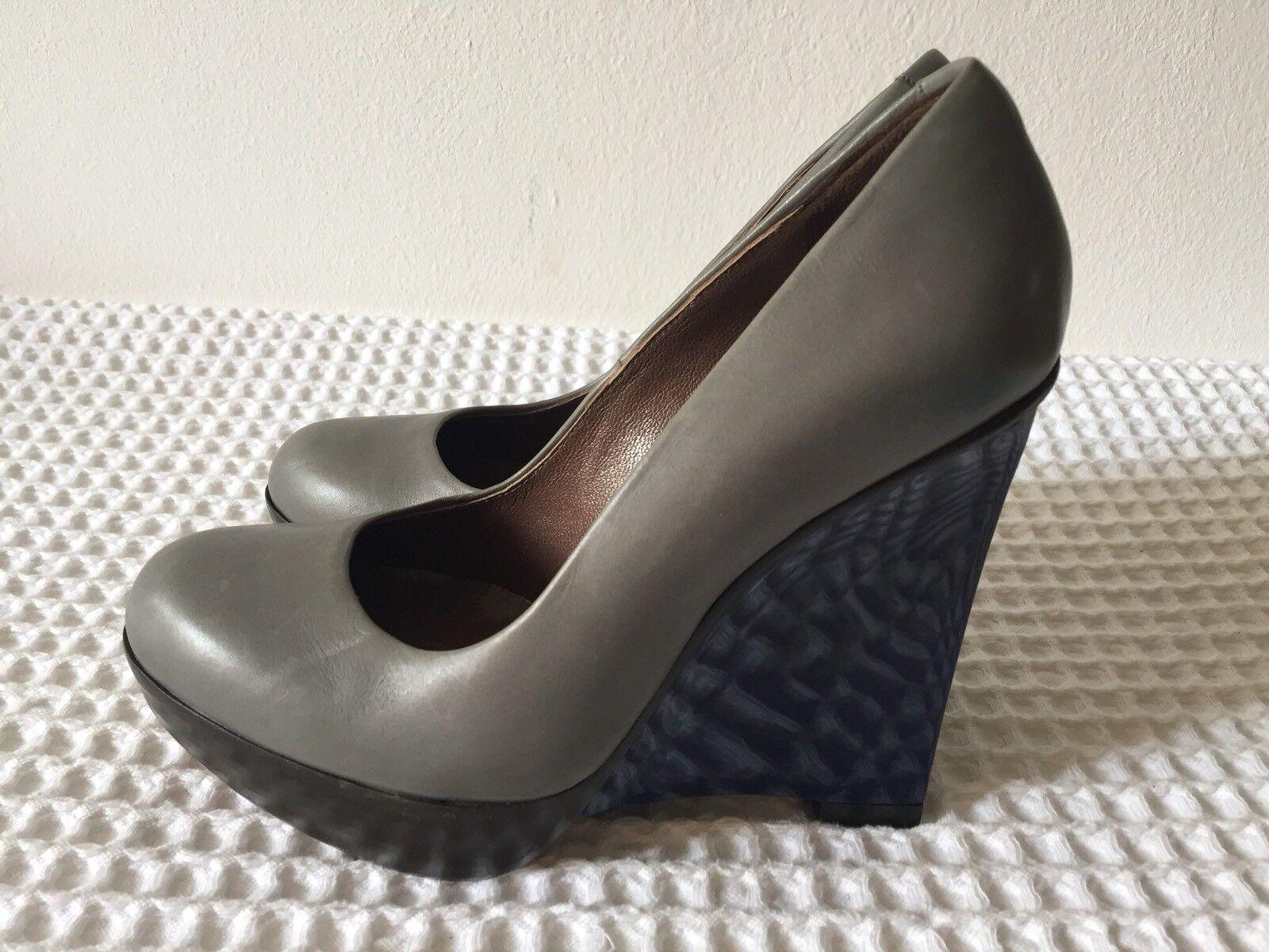 MARNI grau leather FULL schuhe WITH Blau unique heels Größe Größe Größe 37 Eu UK 4 63a74c