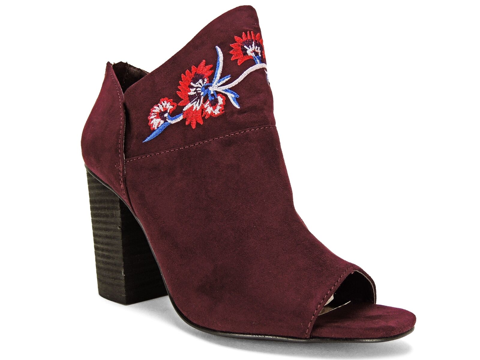 Carlos by Carlos Santana Women's Talana Embroidered Peep-Toe Booties Syrah 7.5 M