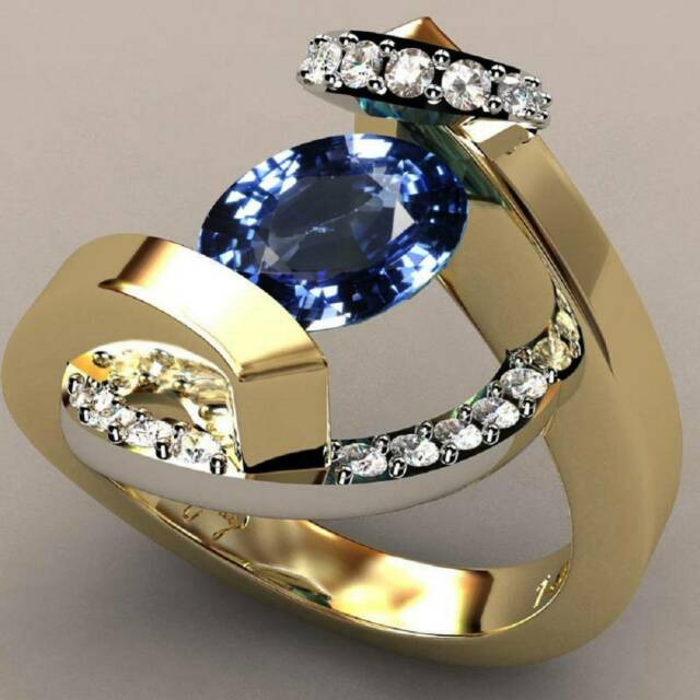 Women's 18K Yellow Gold Filled Sapphire Ring 2-color Zirconia Wedding Party Ring