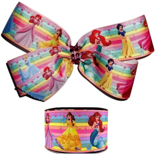 "DISNEY PRINCESSES Large Hair Bow Clip Big 6"" 6 Inch Jojo Princess Rainbow Ariel"